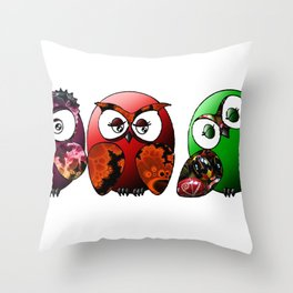 Owls Family Throw Pillow