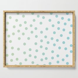 Simply Dots in Turquoise Green Blue Gradient on White Serving Tray