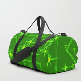 Lime diamonds and squares at the intersection with the stars on a green background. Duffle Bag