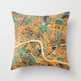 London Mosaic Map #3 Throw Pillow