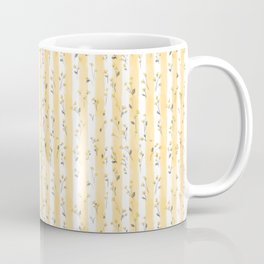 Buttercup Yellow Flower Blossoms on Butter Yellow Streaky Stripes Coffee Mug
