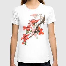 red orange kapok flowers watercolor T-shirt