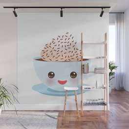 Cute blue Kawai cup, coffee with pink cheeks and winking eyes Wall Mural