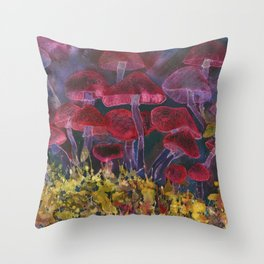 Deep red and orange psychedelic mushrooms with black specles Throw Pillow