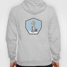 Cleaner Janitor Mopping Floor Retro Shield Hoody