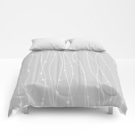 Grey Pattern With Lines And Dots Comforters