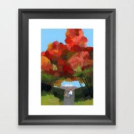 Break time with autumn leaves. Framed Art Print