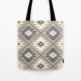 Aztec Symbol Stylized Pattern Blue Cream Sand Tote Bag