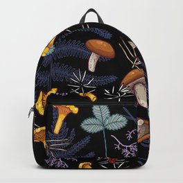 dark wild forest mushrooms Backpack