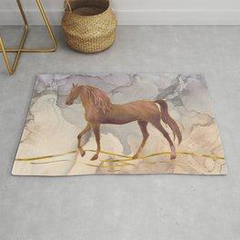 Wild Horse Walking in the Hot Desert Rug