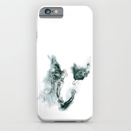 Horseshoe-shaped ink spot in shades of gray iPhone Case