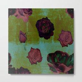 Crimson Vintage Rose Metal Print