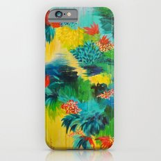 PARADISE WAITS - Beautiful Colorful Tropical Abstract Acrylic Painting Crimson Kelly Green Lagoon iPhone 6s Slim Case