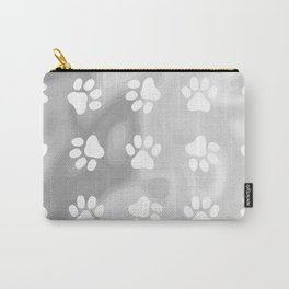 Puppy Paw Print Abstract Grey Carry-All Pouch