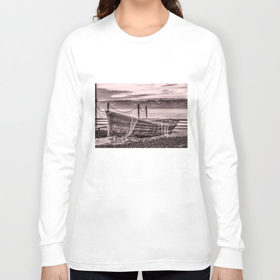 Old rusty boat with net (sepia) Long Sleeve T-shirt