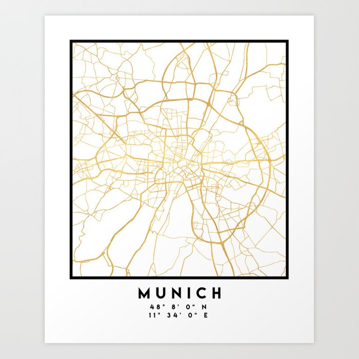 MUNICH GERMANY CITY STREET MAP ART Art Print by deificusart