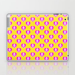Skull heart pattern, punk rock skull, punk girl, love kills, yellow pink hearts, girly emo skull Laptop & iPad Skin