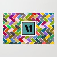 monogram Area & Throw Rugs featuring M Monogram by mailboxdisco