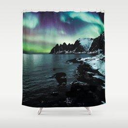 Northern Lights over Lenvik, Norway Travel Artwork Shower Curtain