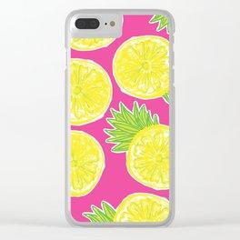 Pineapple Lemon Pattern Clear iPhone Case