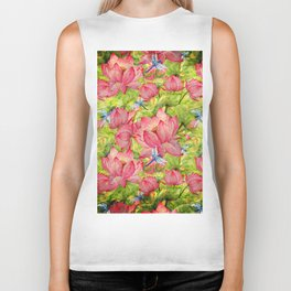Floral Lotus Flowers Pattern with Dragonfly Biker Tank