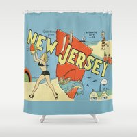 postcard Shower Curtains featuring Retro New Jersey Beach Vintage Postcard by Cafe Cha Cha