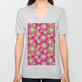 Circles on pink background Unisex V-Neck