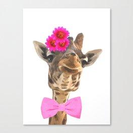 Giraffe funny animal illustration Canvas Print