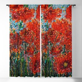 Wild Grass And Poppies Pollock Inspiration II Blackout Curtain
