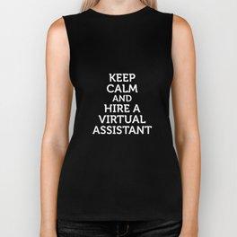Keep Calm and Hire a Virtual Assistant Work T-Shirt Biker Tank