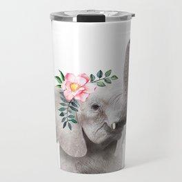 Baby Elephant with Flower Crown Travel Mug
