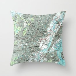 Newark NJ and Surrounding Areas Map (1986) Throw Pillow