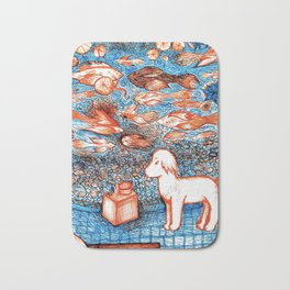 Suki by the Koi Pond Bath Mat