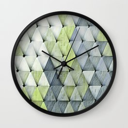 Textured Triangles Lime Gray Wall Clock
