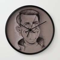 tom selleck Wall Clocks featuring Tom by chadizms
