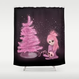 Intercosmic Christmas in Pink Shower Curtain