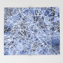 Paris France City Street Map Throw Blanket