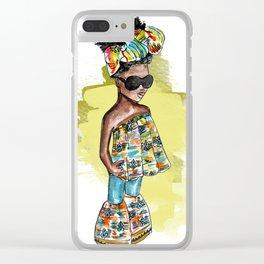 SHE READY (yellow splash watercolor splash) Clear iPhone Case