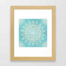 Elegant White Gold Mandala Sky Blue Design Framed Art Print