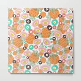 Geometric Oranges and Abstract Flowers Metal Print