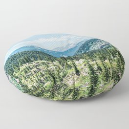 Mountain Landscape // Ski Resort Runs in Summer Epic Green Forest Wilderness Photograph Floor Pillow
