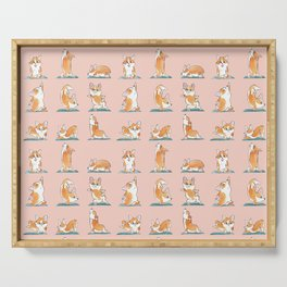 Corgi Yoga Watercolor Serving Tray