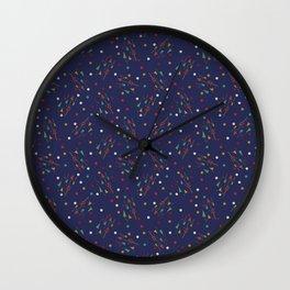 Mid mod multi colour arrows on blue Wall Clock