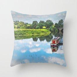 Tewkesbury Waterside Throw Pillow