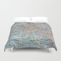 europe Duvet Covers featuring old map of Europe by inourgardentoo