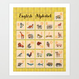 hand drawn animals poster for all English letters Art Print