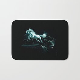White Horse and The Attack of Wild Wolves Bath Mat