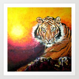 Awaiting the Darkness of Night (Male Tiger) Art Print