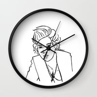 harry styles Wall Clocks featuring Harry Styles by Rosalia Mendoza