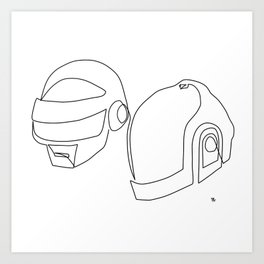 one line drawing black and white of daft punk Art Print